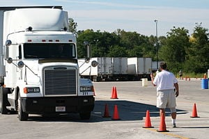 A truck training on a CDL range