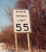 A standard-style New York State speed sign ind...