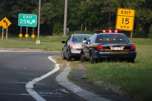New York State Trooper issuing traffic ticket