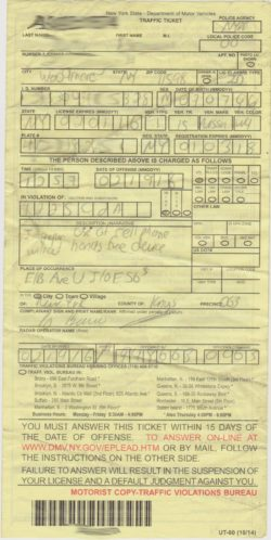 example of a NYC cell phone ticket
