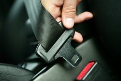 seat belt being latched on
