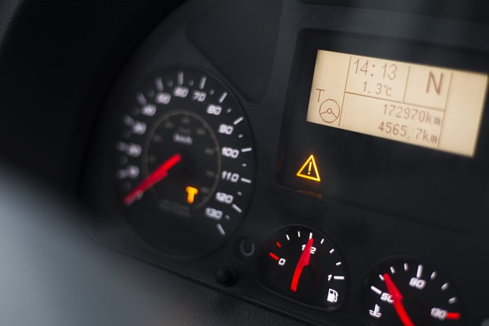 truck dashboard with safety erros