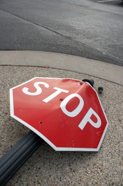 disobeying traffic control device stop sign